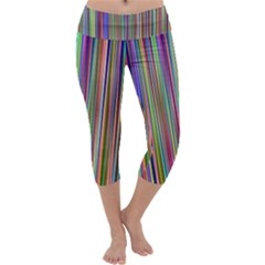 Striped Stripes Abstract Geometric Capri Yoga Leggings