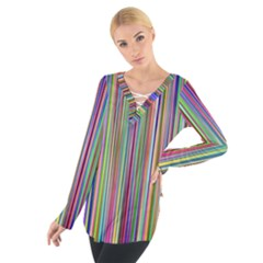 Striped Stripes Abstract Geometric Women s Tie Up Tee