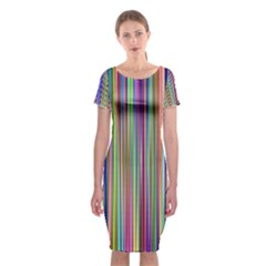 Striped Stripes Abstract Geometric Classic Short Sleeve Midi Dress