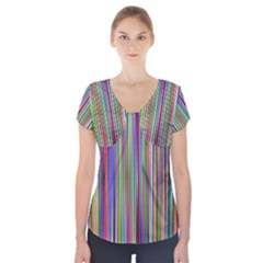 Striped Stripes Abstract Geometric Short Sleeve Front Detail Top