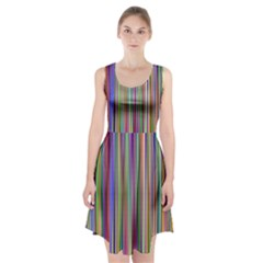 Striped Stripes Abstract Geometric Racerback Midi Dress