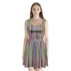 Striped Stripes Abstract Geometric Split Back Mini Dress