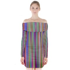 Striped Stripes Abstract Geometric Long Sleeve Off Shoulder Dress