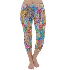 Sakura Cherry Blossom Floral Capri Winter Leggings