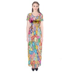 Sakura Cherry Blossom Floral Short Sleeve Maxi Dress