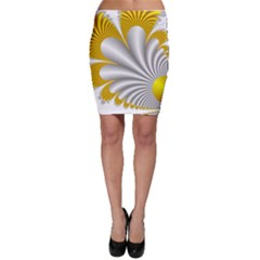 Fractal Gold Palm Tree  Bodycon Skirt