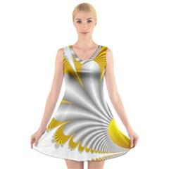 Fractal Gold Palm Tree  V Neck Sleeveless Skater Dress