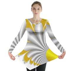 Fractal Gold Palm Tree  Long Sleeve Tunic