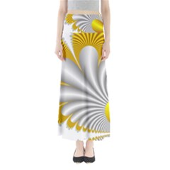 Fractal Gold Palm Tree  Maxi Skirts