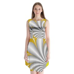 Fractal Gold Palm Tree  Sleeveless Chiffon Dress