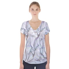 Abstract Background Chromatic Short Sleeve Front Detail Top