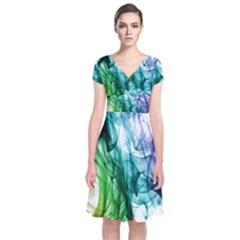 Colour Smoke Rainbow Color Design Short Sleeve Front Wrap Dress