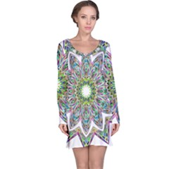 Decorative Ornamental Design Long Sleeve Nightdress