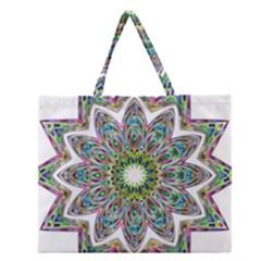 Decorative Ornamental Design Zipper Large Tote Bag