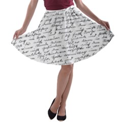 Handwriting  A-line Skater Skirt