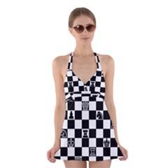 Chess Halter Swimsuit Dress