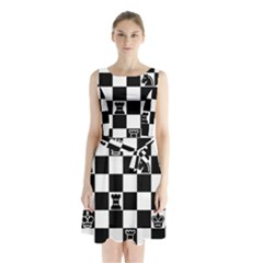 Chess Sleeveless Chiffon Waist Tie Dress