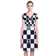 Chess Short Sleeve Front Wrap Dress