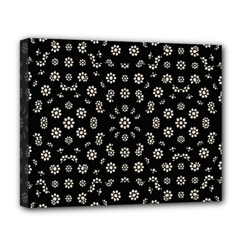Dark Ditsy Floral Pattern Deluxe Canvas 20  x 16