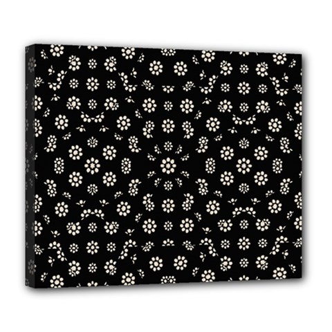 Dark Ditsy Floral Pattern Deluxe Canvas 24  x 20