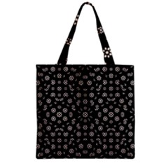 Dark Ditsy Floral Pattern Grocery Tote Bag
