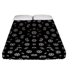 Dark Ditsy Floral Pattern Fitted Sheet (Queen Size)