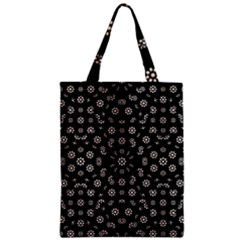 Dark Ditsy Floral Pattern Zipper Classic Tote Bag