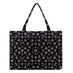 Dark Ditsy Floral Pattern Medium Tote Bag