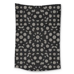 Dark Ditsy Floral Pattern Large Tapestry