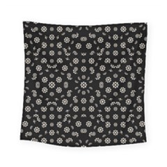 Dark Ditsy Floral Pattern Square Tapestry (small)