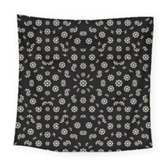 Dark Ditsy Floral Pattern Square Tapestry (large)
