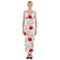 Apple pattern Fitted Maxi Dress