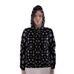 Dark Ditsy Floral Pattern Hooded Wind Breaker (Women)