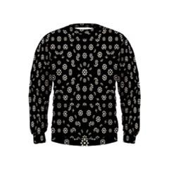 Dark Ditsy Floral Pattern Kids  Sweatshirt