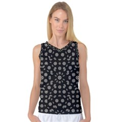 Dark Ditsy Floral Pattern Women s Basketball Tank Top