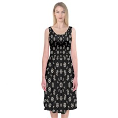Dark Ditsy Floral Pattern Midi Sleeveless Dress