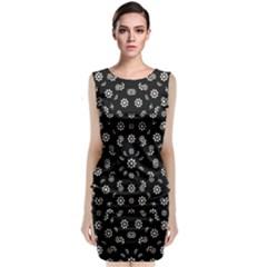 Dark Ditsy Floral Pattern Classic Sleeveless Midi Dress