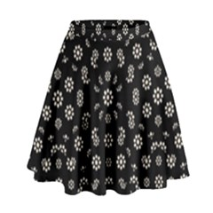 Dark Ditsy Floral Pattern High Waist Skirt