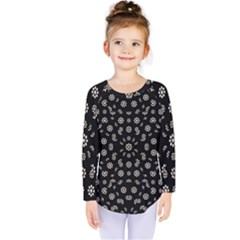 Dark Ditsy Floral Pattern Kids  Long Sleeve Tee