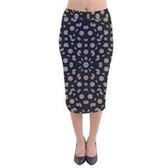 Dark Ditsy Floral Pattern Velvet Midi Pencil Skirt