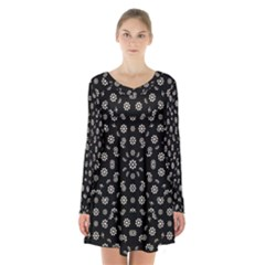 Dark Ditsy Floral Pattern Long Sleeve Velvet V Neck Dress