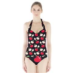 Apple pattern Halter Swimsuit