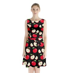 Apple pattern Sleeveless Chiffon Waist Tie Dress