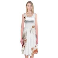 Spotted pattern Midi Sleeveless Dress