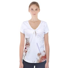 Spotted pattern Short Sleeve Front Detail Top
