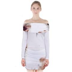 Spotted pattern Long Sleeve Off Shoulder Dress