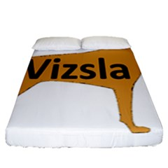 Vizsla Name Silo Color Fitted Sheet (Queen Size)
