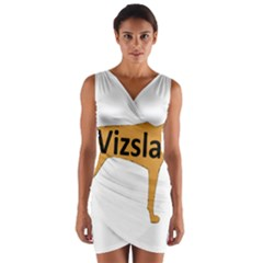 Vizsla Name Silo Color Wrap Front Bodycon Dress