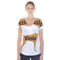 Vizsla Name Silo Color Short Sleeve Front Detail Top