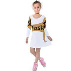 Vizsla Name Silo Color Kids  Long Sleeve Velvet Dress